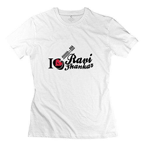 Ladies Love Ravi Shankar Sitar T-Shirt - Vintage Custom White T Shirt