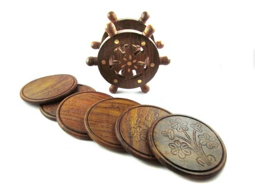 Pindia Fancy Vintage ship stering wheel shaped wooden tea coaster set