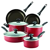 Farberware Dishwasher Safe Aluminum Nonstick 14-Piece Cookware Set, Red