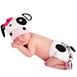 Melondipity\'s Baby Girl Cow Crochet Hat and Diaper Cover Set for Newborn Girls