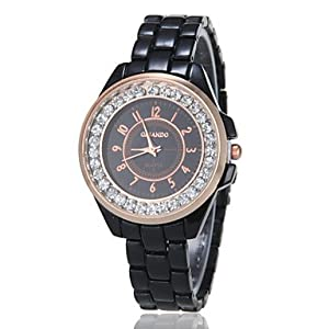 Watches - Women's Diamante Round Dial Alloy Band Quartz Analog Fashion Watch (Assorted Color) ( Color : Black )