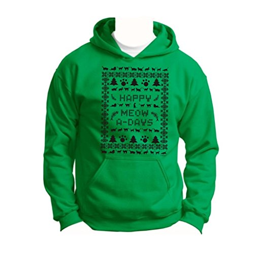 Ugly Christmas Sweater Cat Lover'S Youth Hoodie Sweatshirt Medium Green