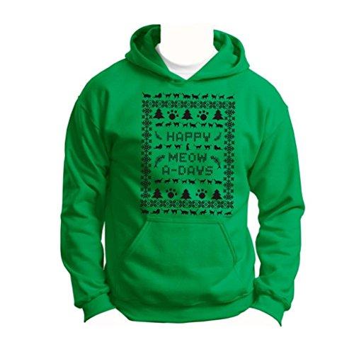 Ugly Christmas Sweater Cat Lover'S Youth Hoodie Sweatshirt Medium Green