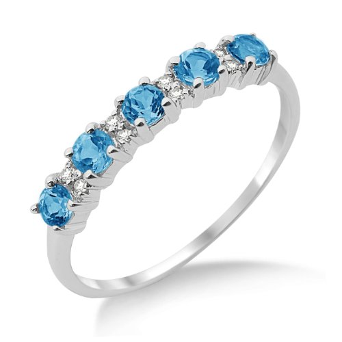 Eternity Ring, 9ct White Gold, Diamond and Blue Topaz Eternity Ring, by Miore,