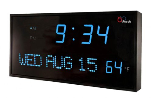 Dbtech Jid0316Blu Big Oversized Digital Red Led Calendar Clock With Day Date And Temperature (Blue)
