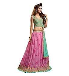 Orange Fab Women's Faux Georgette Dress Material (OF116-Maskeen-2407_Pink and Green)