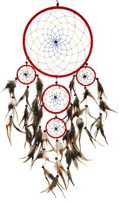 DreamCatcher ~ Red DreamCatcher with Feathers ~ Approx 9 Diameter 2.4 Feet Long