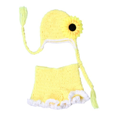 JTC Unisex-baby Baby Infant Cap Hat Sunflower Costume Photo Prop Pants