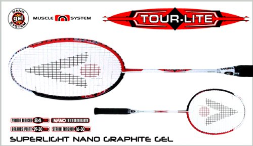 Karakal Tour Lite Gel Unisex Badminton Racket - Red/Black/White, 3 5/8 Grip