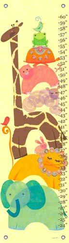 Oopsy Daisy Animal Stack Libby Ellis Growth Charts, Yellow, 12 x 42""