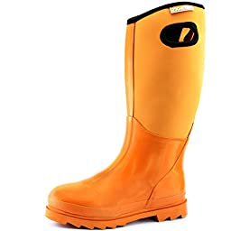 Women\'s Classic High Ultra Soft Neoprene Waterproof Rubber Rainboot Mid Calf Warm Winter Snow Boots,Yellow,Size 5