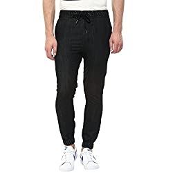 Hypernation Black Color Denim Jogger For Men