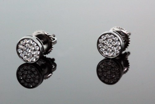 .925 Sterling Silver Black Circle White Crystal Micro Pave Unisex Mens Stud Earrings 6mm