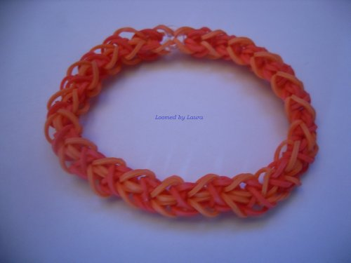 Loomed By Laura Bracelet, 2-Tone Style, Red And Orange - Quality Loomwear, All-Original!