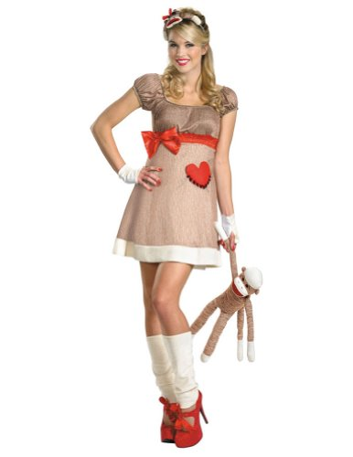 Ms. Sock Monkey Deluxe 8-10 Adult Womens Costume