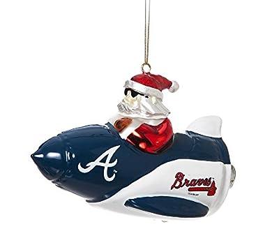 MLB Licensed Atlanta Braves Blown Glass Rocket Santa Ornament