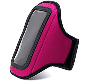VanGoddy Magenta Jogging Essential Workout Exercise Sweat Resistant Armband for 4in - 5in Mobiles