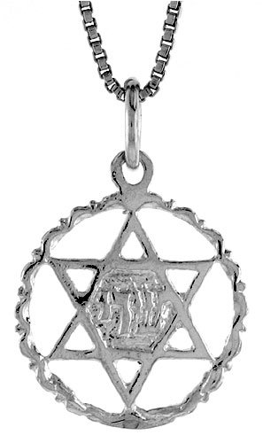 19 mm Star of David Pendant Sterling Silver