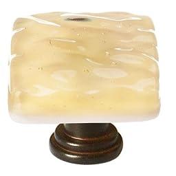 Glacier Square Knob Base Finish: Oil Rubbed Bronze, Color: Light Amber