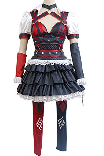 UU-Style Women's Arkham Knight City Harley Quinn Dress Halloween Cosplay Costume Attire (Harley Quinn Arkham City Halloween Costume)