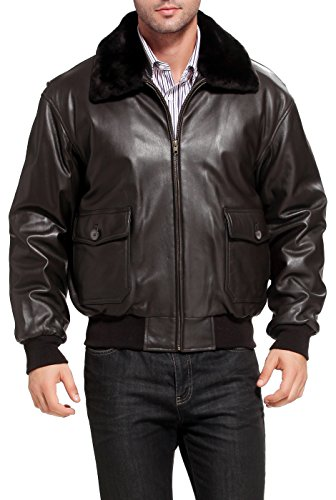 Landing Leathers Navy Men's G-1 Goatskin Leather Flight Bomber Jacket - XL Navy G 1 Flight Jacket