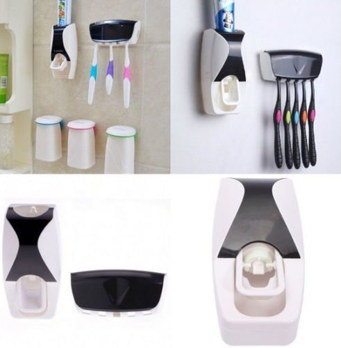 New Automatic Toothpaste Dispenser + 5 Toothbrush Holder Set Wall Mount Stand (Mentadent Dispenser compare prices)