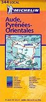 Michelin Map No. 344 Luchon Andorre Carcasson Perpignan Aude Pyrenees-Orientales (France), Scale 1:150,000