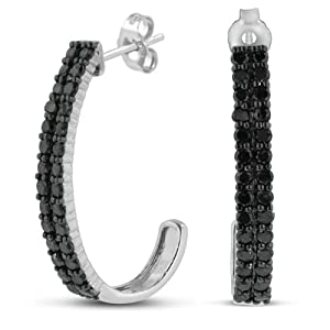 1ct Black Diamond Double Row Hoop Earrings Crafted In Solid Sterling Silver from SuperJeweler