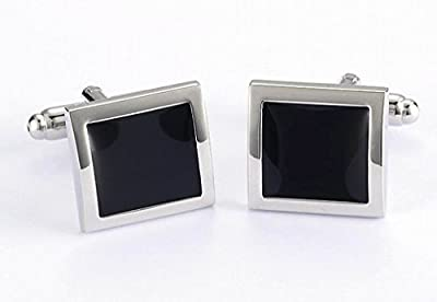 Men Jewelry Classic Square Black Cufflinks For Wedding Shirt Collection Copper Plated 1 Pair