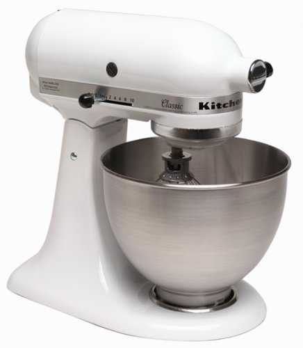 KitchenAid K45SSWH K45SS Classic 250-Watt 4-1/2-Quart Stand Mixer, White