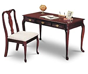 Cherry Finish Secretary Writing Desk & Chair