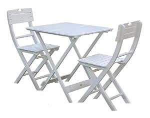Bentley Garden Wooden Garden Patio Furniture Bistro Set Table and 2-Chairs - White (3 Pieces)