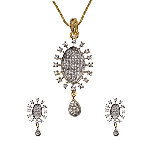 Sheetal Jewellery Silver & Golden Brass & Alloy Pendant Set For Women - B00TIH0XPS