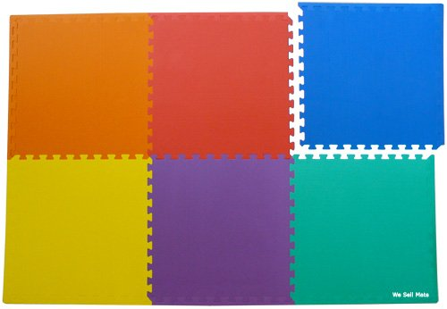 "96 Sq. Ft. (set of 24 + borders) 'We Sell Mats' Anti-Fatige Interlocking EVA Foam Flooring-Set of six Multi-Color Tiles-Each 2'x2'x3/8"" Thick"