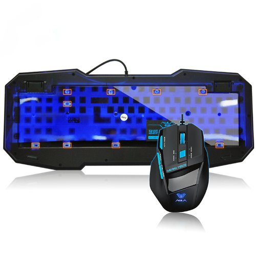 Led Ergonomic Fashionable Backlight Gaming Keyboard + 2000Dpi Wired Usb Game Mouse With 7 Buttons