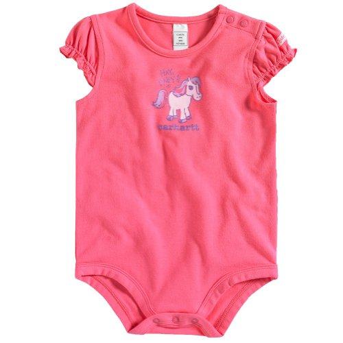 Carhartt Baby-Girls Infant Short Sleeve Bodysuit, Camellia Rose, 6 Months