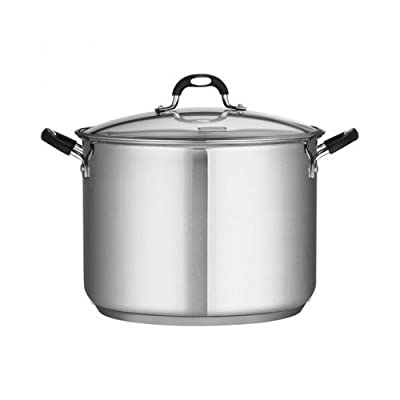 22 Qt Tramontina Stainless Steel Covered Stockpot, Induction Ready, 3ply Base, Clear Lid