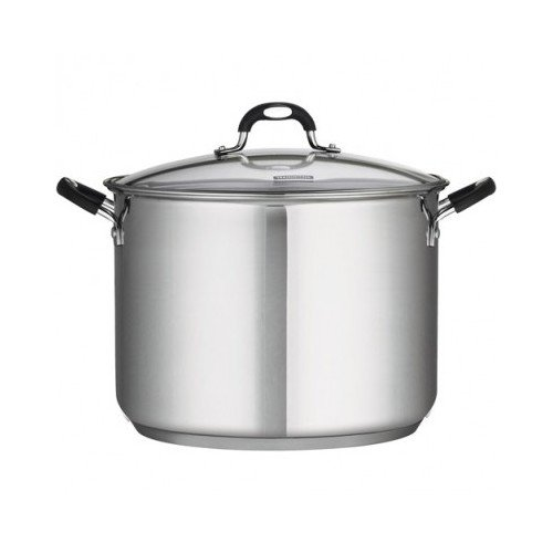 16 Qt Tramontina Stainless Steel Covered Stockpot, Induction Ready, 3Ply Base, Clear Lid