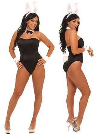 Amazon.com: Sexy Black Heff Play Bunny Fantasy Party Costume - PETITE