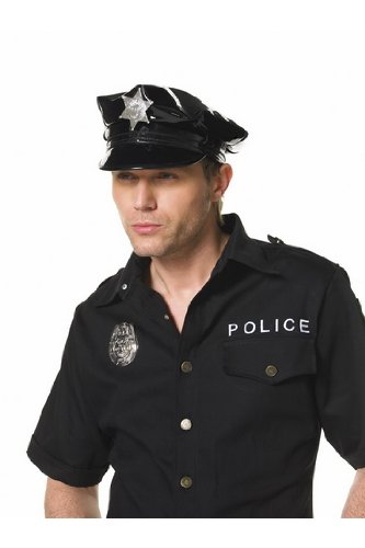 Mens Adult Cop Cap Police Officer Cop Sheriff Black Costume Hat Party Fantasy Wardrobe Essential Leg Avenue by Fenvy One Size, Black