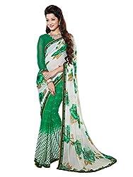 PShopee Green & Off White Designer Poonam Chiffon Saree with Blouse Piece