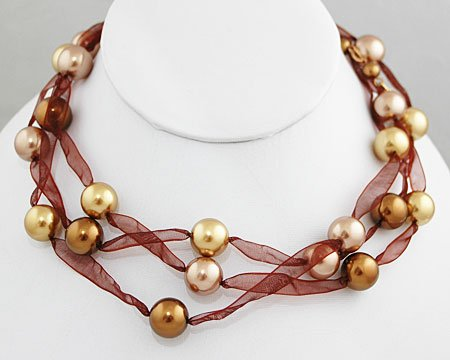 Bronze, Light Gold and Taupe 12mm Pearl and Brown Ribbon Necklace - Bridesmaid Jewelry