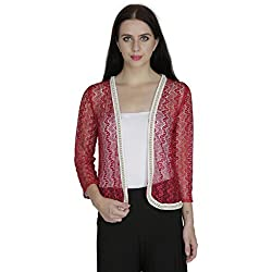 SVT ADA COLLECTIONS POLY NET MAROON ELGANT SHRUG WITH PEARL LACE OUTLINE (005318_Maroon_Medium)
