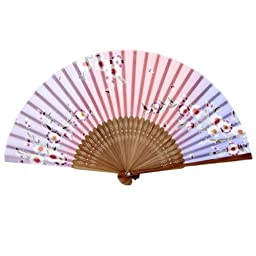 Creative Butterfly Lily Silk Fans Folding Elegant Folding Summer Fan Pink 8\
