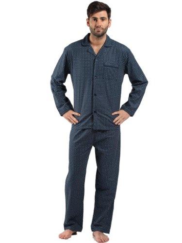 129-9737-Mens Fine Quality Diamond Spot Brushed Cotton Flannel Pyjama-L -Navy