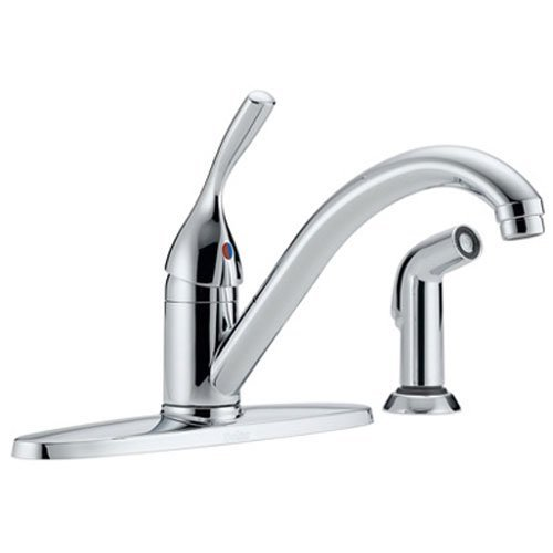 Delta 400-DST Classic Single Handle Kitchen Faucet with Spray, Chrome (Delta Single Lever Kitchen Faucet compare prices)