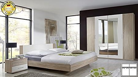 Schlafzimmer komplett 4-teilig 767347 struktureiche hell / weiß