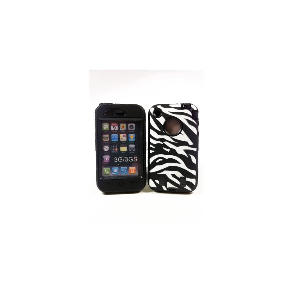 Armored Core Zebra White/Black Print Case with Black Shell AT&T iphone3G/3GS