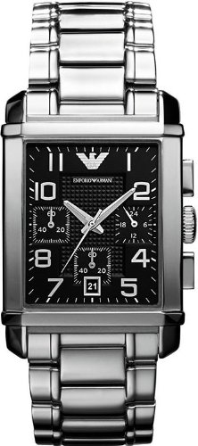 Emporio Armani Men's Quartz Watch with Black Dial Analogue Display and Silver Stainless Steel Bracelet AR0334