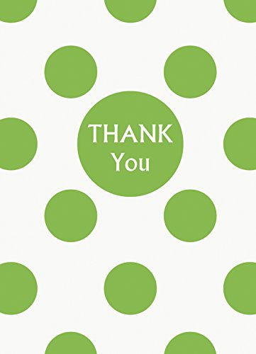 Unique Lime Green Polka Dot Thank You Notes, 8 Count